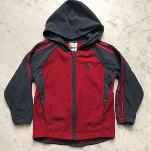 adidas Red Fleece Zip Up Hoodie Sweatshirt Jacket
